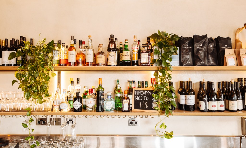 Section of wine and cocktails at Drake Eatery